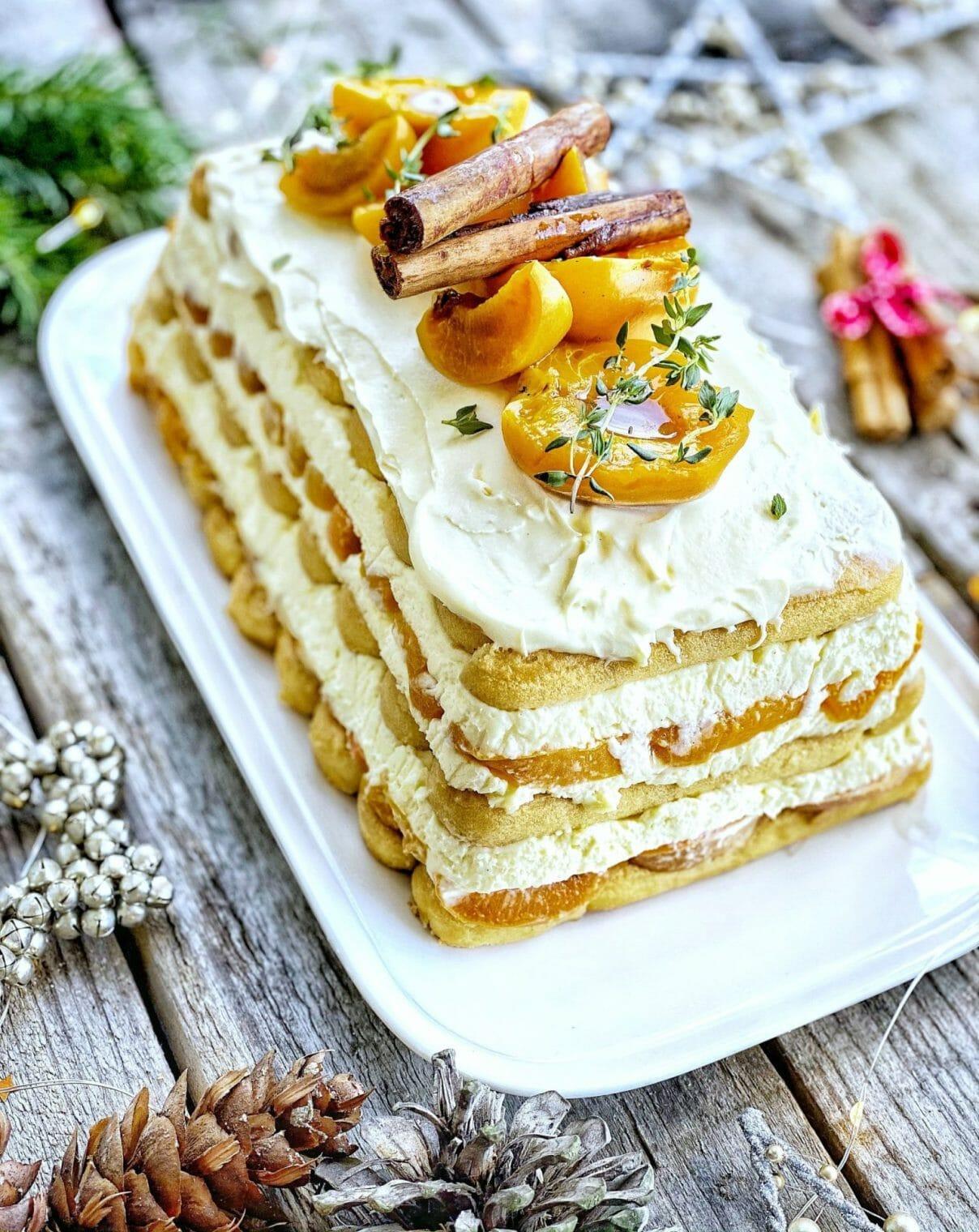 Poached Apricot Mascarpone Layer Cake